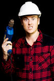 Furious out of control construction site worker Stock Image