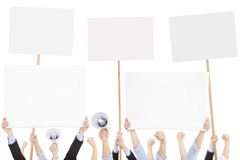 Furious people protesting with board and megaphone Royalty Free Stock Photos
