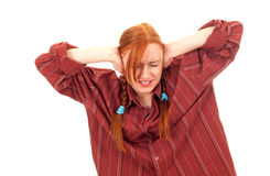 Furious pigtail young woman Royalty Free Stock Image