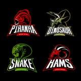 Furious piranha, ram, snake and dinosaur head sport vector logo concept set  on black background. Stock Images