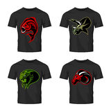 Furious piranha, ram, snake and dinosaur head sport vector logo concept set on black t-shirt mockup. Stock Photo