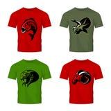 Furious piranha, ram, snake and dinosaur head sport vector logo concept set on color t-shirt mockup. Royalty Free Stock Photo