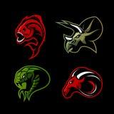 Furious piranha, ram, snake and dinosaur head sport vector logo concept set isolated on black background. Modern team mascot badge design. Premium quality wild vector illustration