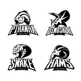 Furious piranha, ram, snake and dinosaur head sport vector logo concept set  on white background. Royalty Free Stock Photos