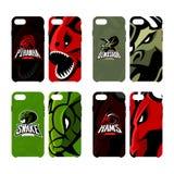 Furious piranha, ram, snake and dinosaur sport vector logo concept smart phone case Royalty Free Stock Photo
