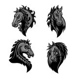 Furious powerful horse head heraldic icons Royalty Free Stock Image