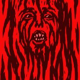 Furious red demon woman is bleeding. Vector illustration. Royalty Free Stock Photography