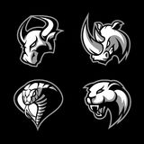 Furious rhino, bull, cobra and panther sport vector logo concept set isolated   Royalty Free Stock Images