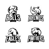 Furious rhino, bull, eagle and panther mono sport vector logo concept set isolated on white background. Royalty Free Stock Photography