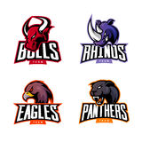 Furious rhino, bull, eagle and panther sport vector logo concept set isolated on white background. Stock Images