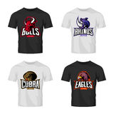 Furious rhino, bull, eagle and snake sport vector logo concept set isolated on black t-shirt mockup. Royalty Free Stock Image