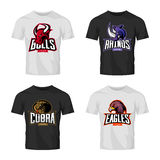 Furious rhino, bull, eagle and snake sport vector logo concept set isolated on black t-shirt mockup. Stock Photos