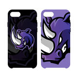 Furious rhino sport vector logo concept smart phone case isolated on white background Stock Photography