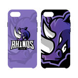 Furious rhino sport vector logo concept smart phone case isolated on white background Royalty Free Stock Photography