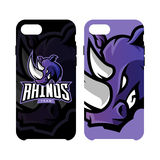 Furious rhino sport vector logo concept smart phone case isolated on white background Royalty Free Stock Photo