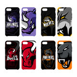 Furious rhino, wolf, bull and panther sport vector logo concept smart phone case. Stock Photo