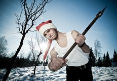 Furious Santa with an axe Stock Images