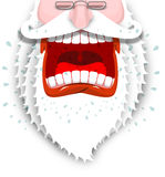 Furious Santa Claus. Anger Santa with big white beard. Cursing a Stock Images