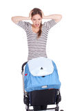 Furious, shouting mother and baby buggy Royalty Free Stock Photography