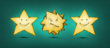 Furious star between cheerful stars. Illustration of a furious star between two cheerful stars Stock Photos
