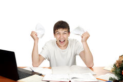 Furious Student. With jammed papers in his fists. Isolated on the white background Stock Images