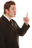 Furious teacher or business man shaking finger. Angry mad businessman boss. Furious teacher man shaking finger in scolding way, isolated on white. Stress in work royalty free stock photo