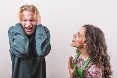 Furious wife angry with her husband Royalty Free Stock Photography