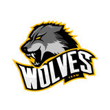 Furious wolf sport vector logo concept isolated on white background Royalty Free Stock Image
