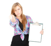 Furious woman with blank clipboard pointing you Royalty Free Stock Photo