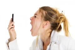 Furious woman calling Stock Photo