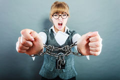 Furious woman with chained hands and contract Royalty Free Stock Images