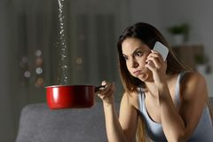 Furious woman claiming insurance for water leaks Royalty Free Stock Photography