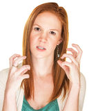 Furious Woman With Curled Fingers Royalty Free Stock Images