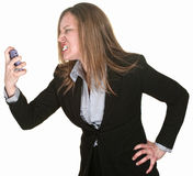 Furious Woman Holding Telephone Royalty Free Stock Photos