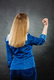 Furious woman making hands gestures. Fury and big anger inside of people. Blonde furious woman making hands gestures. Emotional young girl showing her bad Royalty Free Stock Photos