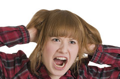 Furious woman pulling hair Stock Photography