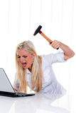 Furious Woman About to Smash Laptop Stock Image