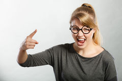 Furious woman yelling. stock images