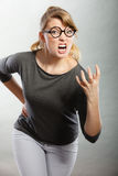Furious woman yelling. Royalty Free Stock Images