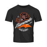Furious woolly mammoth bikers gang club vector logo concept isolated on black t-shirt mock up. 
