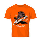 Furious woolly mammoth bikers gang club vector logo concept isolated on orange t-shirt mock up. 