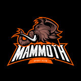 Furious woolly mammoth head sport vector logo concept isolated on black background. Stock Photography