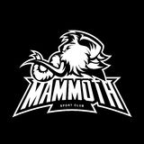 Furious woolly mammoth head sport vector logo concept isolated on black background. Stock Photo