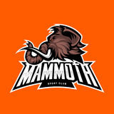 Furious woolly mammoth head sport vector logo concept isolated on orange background. Royalty Free Stock Photography