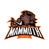 Furious woolly mammoth head sport vector logo concept isolated on white background. Modern professional mascot team badge design Stock Photos
