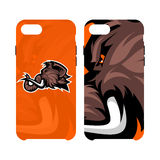 Furious woolly mammoth head sport vector logo concept smart phone case isolated on white background. Royalty Free Stock Images