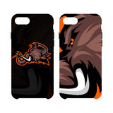 Furious woolly mammoth head sport vector logo concept smart phone case isolated on white background. Royalty Free Stock Image