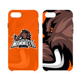 Furious woolly mammoth head sport vector logo concept smart phone case isolated on white background. Stock Photography
