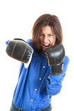 Furious young Business or casual woman ready to fight Stock Photo