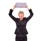 Furious young business woman Royalty Free Stock Images
